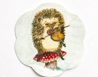 Vinyl Sticker //  Hedgehog Sticker // Violinist Sticker // Laptop Decal // Cel Phone Decal // Gifts under 5