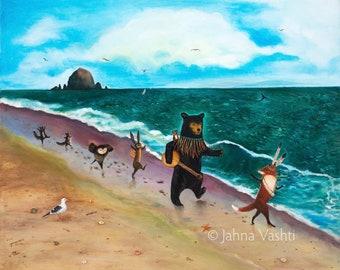 Print / Oregon Coast / June Birthday /beach / ocean / Canon Beach / Haystack Rock / black bear / fox / home decor / nursery decor / art