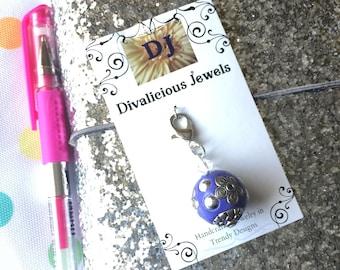 Purple Bling TN Charm, Junk Journal Charm, Traveler's Notebook Charm, Zipper Pull, Planner Charm, Purse Charm, Bible Charm, Beaded Charm