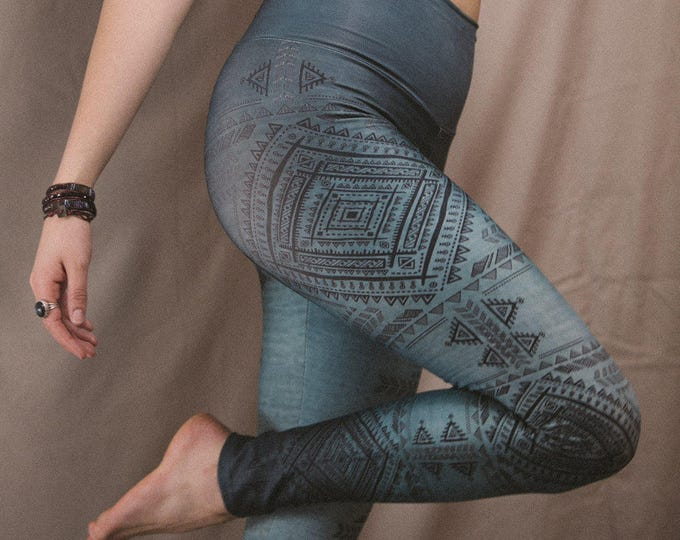 OMBRE Teal TRIBAL FITNESS Yoga Leggings