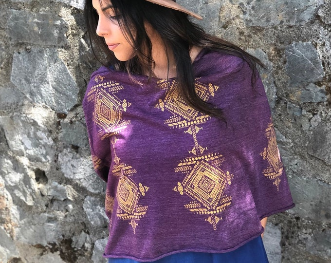 Imperial Purple Tribal Moons Infinity Scarf - Organic Eco Tri-blend