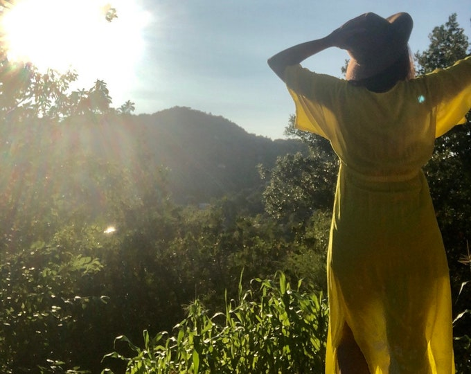 Yellow Henna Paisley Kimono Duster