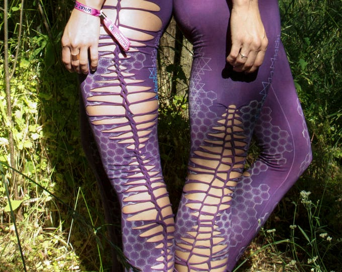 Purple Haze Honeycomb Sri Yantra Cutty Leggings