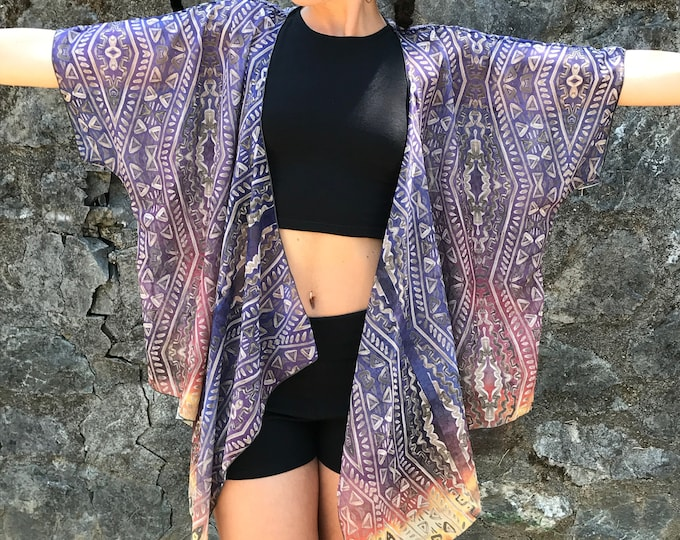 Dusty Sunset Draped Kimono