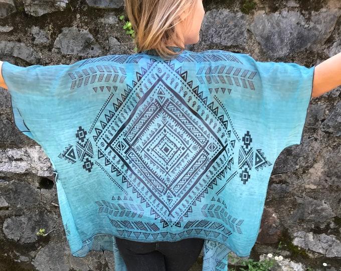 Ombre Teal Tribal Draped Kimono