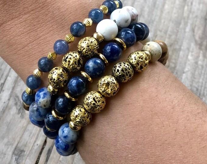 MAR AZUL Bracelet Set - Kyanite, Lapis Lazuli, Jasper, Howlite, Lava