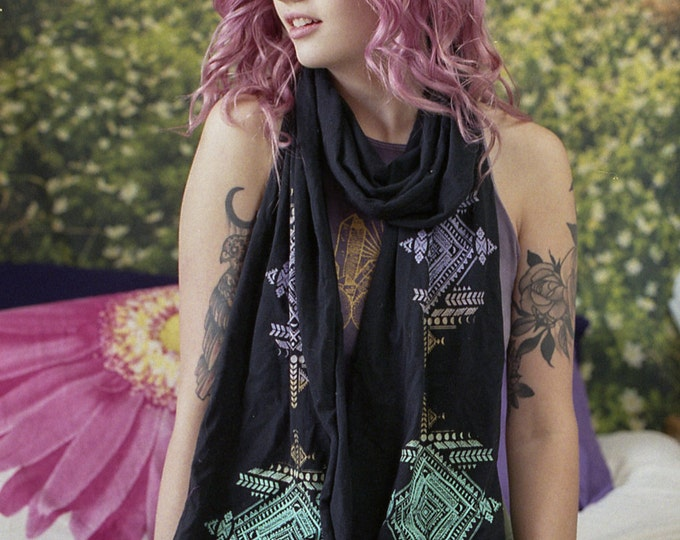 Tribal Moons Long Jersey Scarf Purple/Teal/Gold