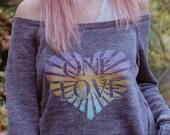 ONE LOVE Off Shoulder Acid Wash Fleece