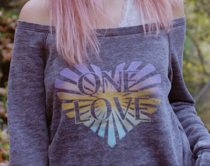 ONE LOVE Off Shoulder Acid Wash Fleece