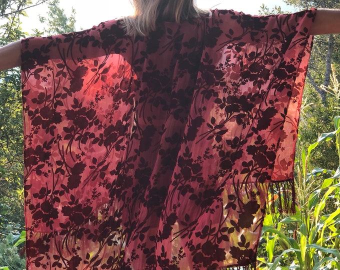 Terracotta Red Burnt Velvet Fringe Kimono
