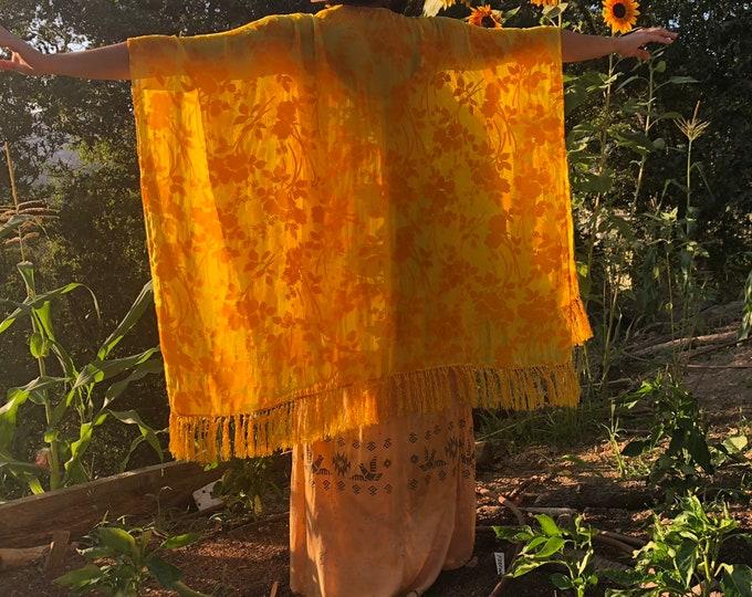 Yellow Burnt Velvet Fringe Kimono