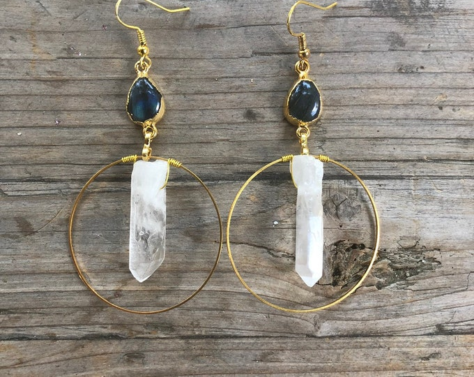 Crystal Quartz & Labradorite Hoop Earrings - Gift Boxed