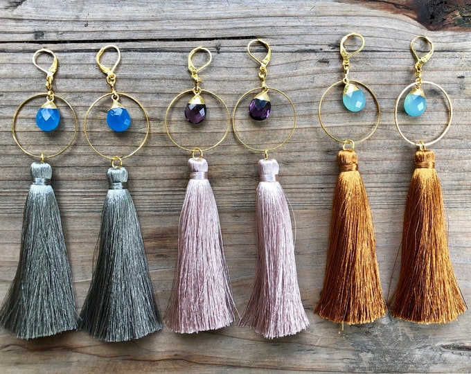 Gem Stone & Tassel Dangle Earrings - Gift Boxed
