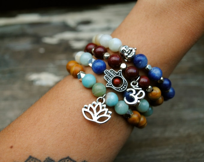 LOTUS YOGA Bracelet Set - Jasper, Obsidian, Quartz, AMAZONITE