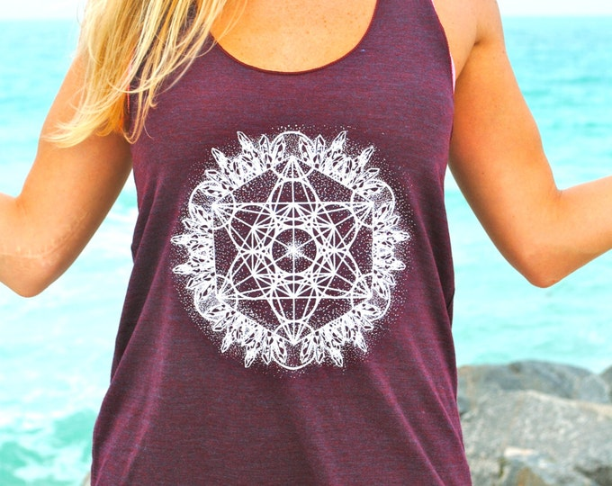 Crystal Metatron Dotwork Racerback Tank / Ladies Tee/ Muscle Tee