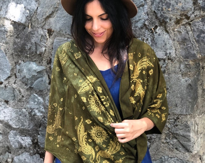 Mossy Green Peacock Paisley Infinity Scarf - Organic Bamboo & Cotton SCARF