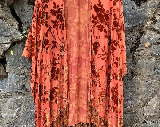 CORAL Velvet Fringe Kimono