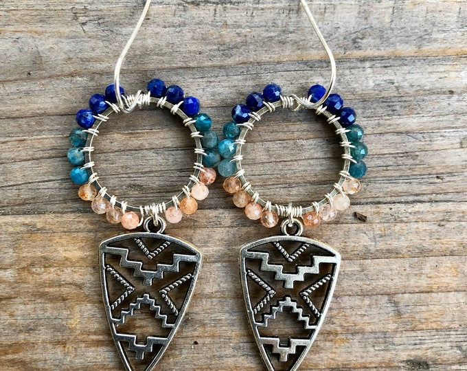 Lapis Lazuli, Apatite & Sunstone Wire Wrapped Tribal Earrings - Gift Boxed