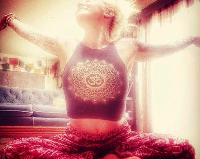OM Dotwork Mandala Fitted Crop Tank