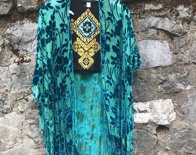 TEAL Velvet Fringe Kimono