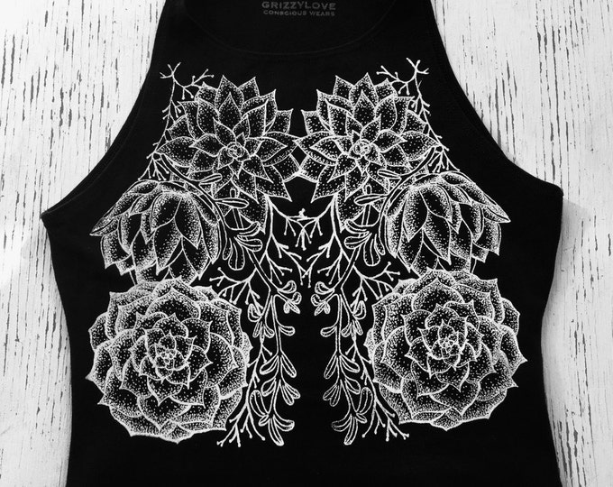 Woodland Succulents Fitted Crop Tank