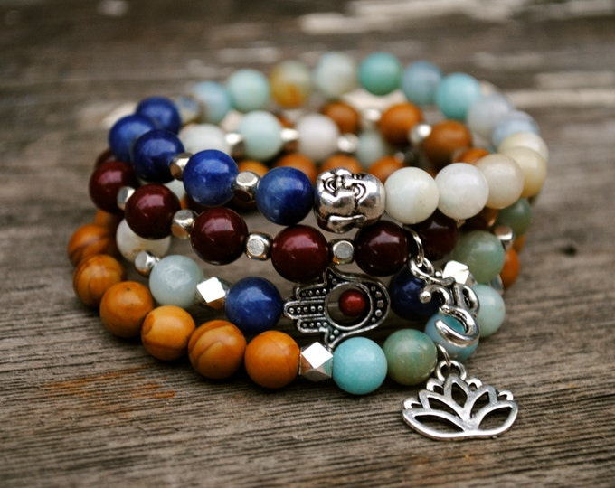 LOTUS YOGA Bracelet Set - Jasper, Obsidian, Quartz, AMAZONITE