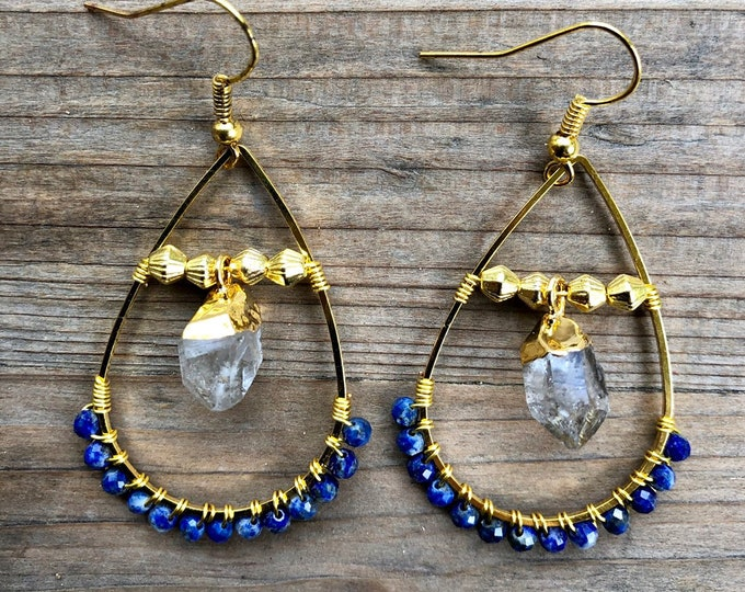 Lapis Lazuli & Herkimer Diamond Teardrop Wire Wrapped Earrings - Gift Boxed