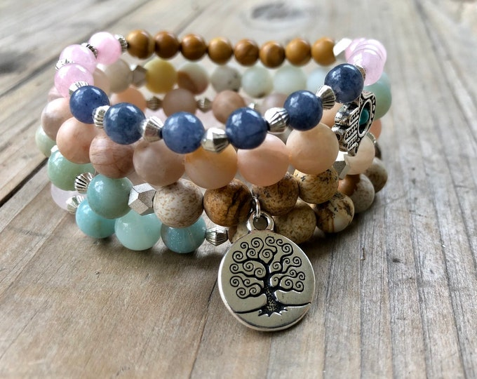 Abundance & Protection Bracelet Set - Sunstone, Kyanite, Rose Quartz, AMAZONITE