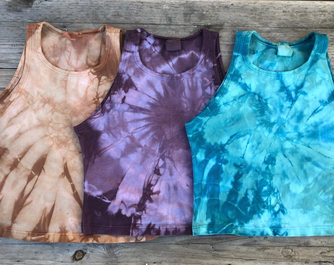 Tie Dye Fitted Crop Tank - Pick your color