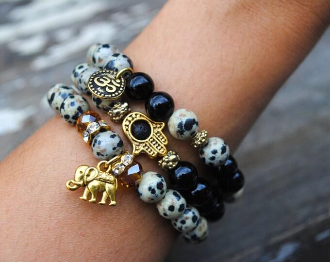 OM, Elephant & HAMSA Bracelet Set