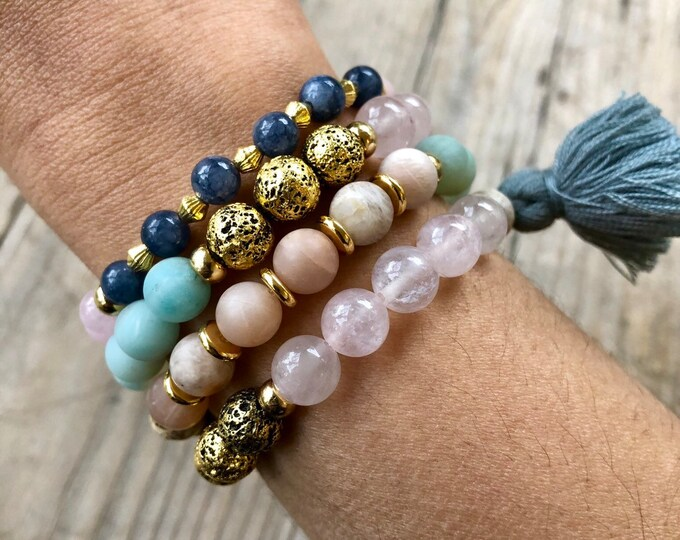 Spring Equinox Bracelet Set - Sunstone, Kyanite, Rose Quartz, AMAZONITE