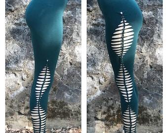 Asymmetrical HIGH UP THERE Cut & Braid Cutty Leggings