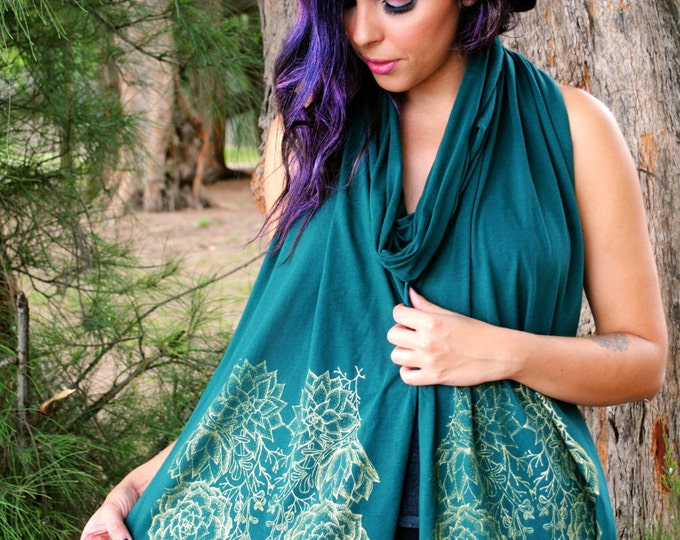 Woodland Succulents Floral Unisex Jersey Scarf