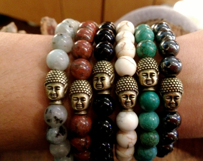 Vintage Brass Buddha Bracelet in Assorted Colors - Gift Boxed
