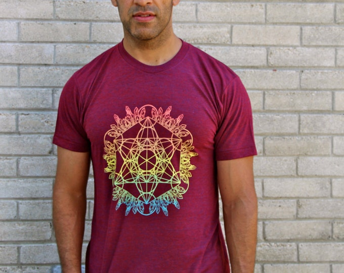 CRYSTAL METATRON Sunset Ombre Tri-Blend Tee