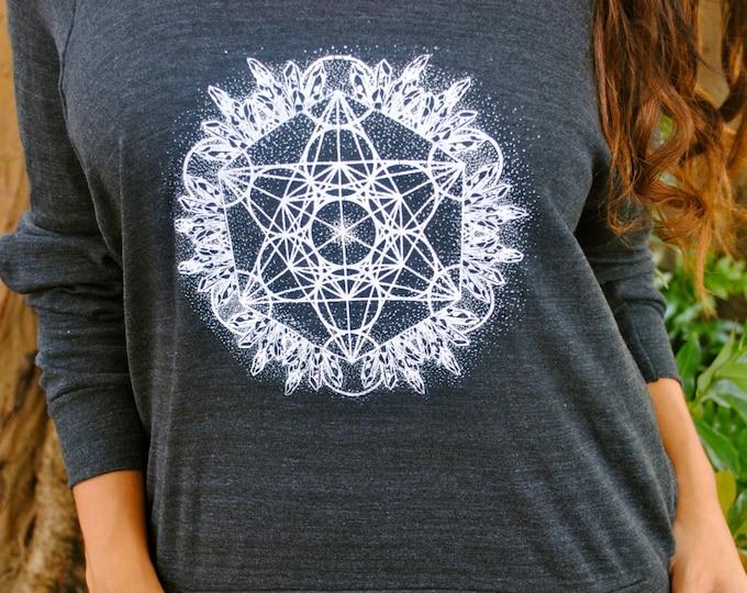 Crystal Metatron Dotwork Mandala Tri-Blend Raglan Pullover