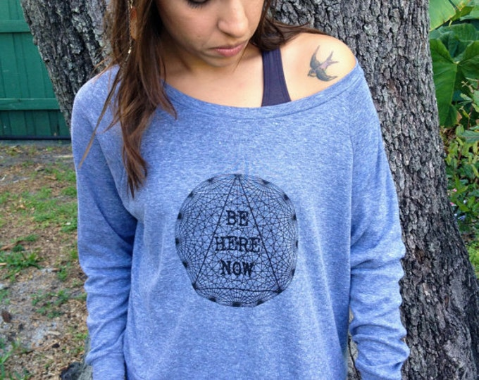 BE HERE NOW Tri-Blend Light Weight Raglan Pullover