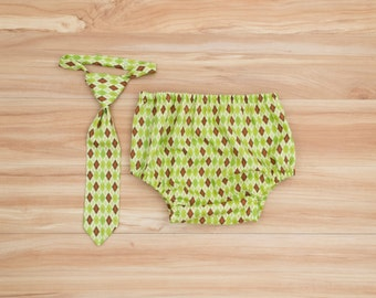 Boys Green First Birthday Cake Smash Outfit, Lime Green and Brown Argyle, One Year Birthday, Boy First Birthday Outfit