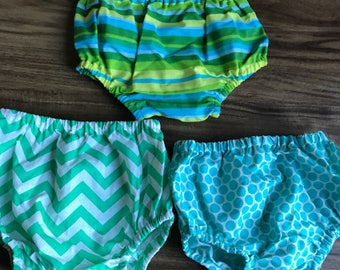 Sale! 12-18 months Diaper Covers Baby Boy Spring: Mint Chevron, Blue Polka Dot and Lime Stripes, Green and Blue Birthday