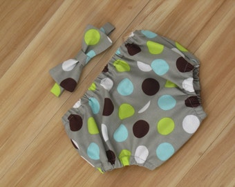 First Birthday Pictures, Boy Monthly Pictures, Boy Picture Prop: Bow Tie and Diaper Cover, Gray, Lime and Brown Polka Dots