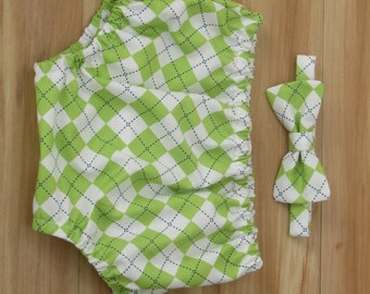 Bow Tie and Diaper Cover, Green Argyle, Boy Cake Smash Outfit, Newborn Boy Prop, Baby Newborn Outfit, Green Baby Outfit