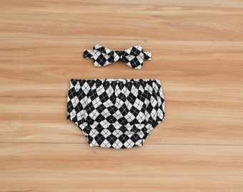 Baby Boy Outfit, Baby Bow Tie and Diaper Cover, Baby Boy Clothing, Baby Boy Cake Smash, Black and White Argyle, Boy First Birthday Outfit