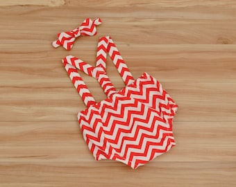 Red Cake Smash Outfit for Boys: Red Chevron First Birthday Outfit Suspenders, Bow Tie and Diaper Cover Set,  Boy Outfit