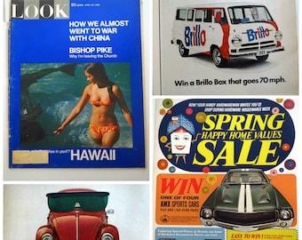 Vintage 1960s Look Magazine April 1969 Hawaii VW Beetle Brillo Van Johnny Cash Ads