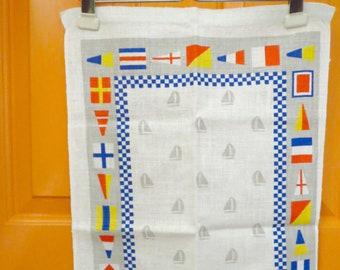 Vintage 1970s Retro Irish Linen Tea Towel Kitchen Regatta Boat Sailboat Nautical