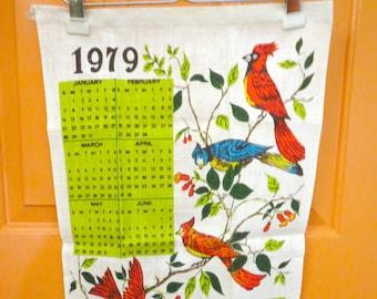 Vintage 1970s Retro Irish Linen Tea Towel Kitchen 1979 Wall Calendar Birds Cardinal