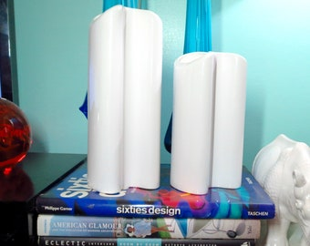 Vintage 1980s Modernist pair Dansk Philippines White Pottery MOD Amorphous Vases