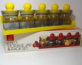 Vintage 1980s Retro NOS Plastic MOD Spice Jar Desk Storage Canisters Rack Set Yellow