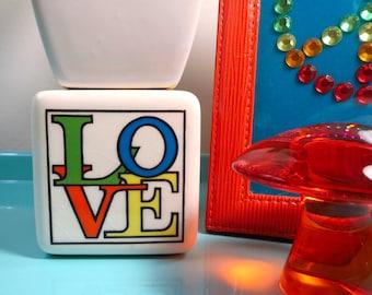 Vintage 1970s MID Century MOD Retro L-O-V-E Love Paperweight Cube Fitz & Floyd