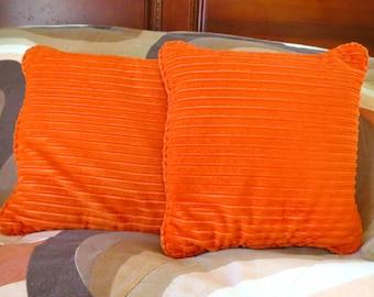 Vintage 1970s Mid Century Modern Orange Square MOD Retro Sofa Bed Throw Pillows